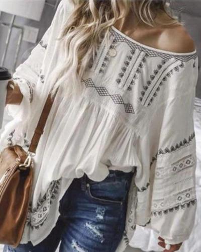 Women's Fashion Plus Size Long Sleeve Boho Blouse