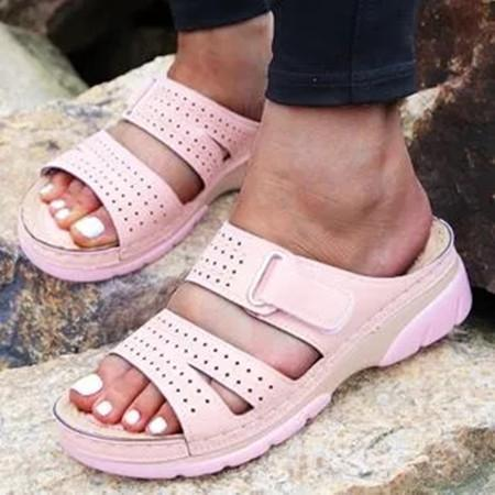 Women's Hollow-out Velcro Round Toe Flat Heel Slippers