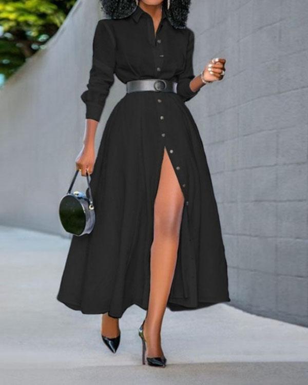 Plus Size Women's A-Line Long Sleeve Dress Button up Slit Maxi Dress