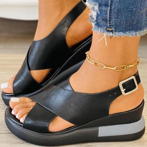 Women Casual Comfotable Pu Color-Blocking Wedge Heel Sandals