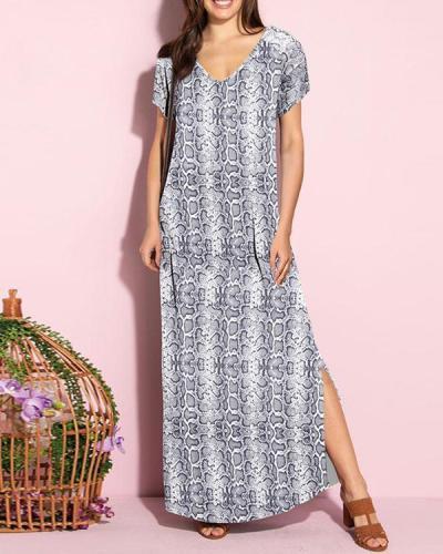 V-neck Open Back Printed Dress