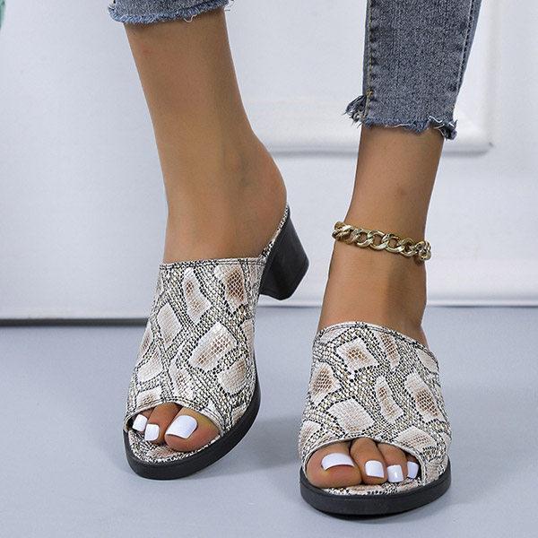 Women's Fashion Snake-print Chunky Heel Slippers