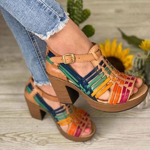 Thick Heel Peop Toe Sandals