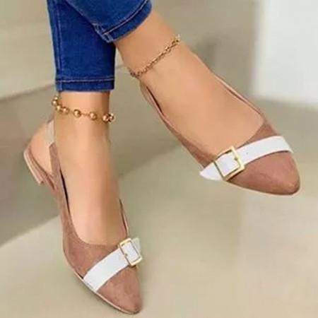 Women's Buckle Pointed Toe Flat Heel Sandals