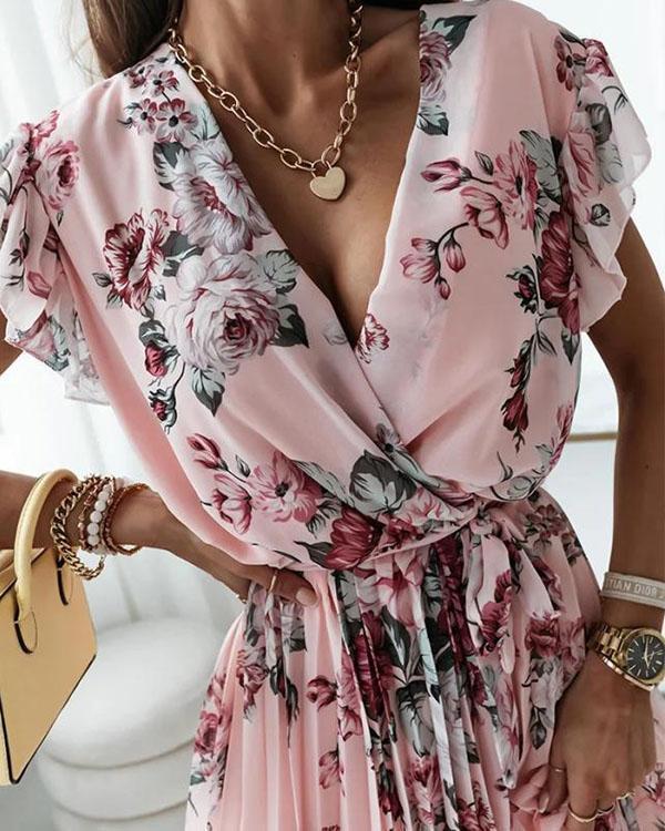 Sexy Flower Print Mini Dress Chiffon Lace up Pleated Dress