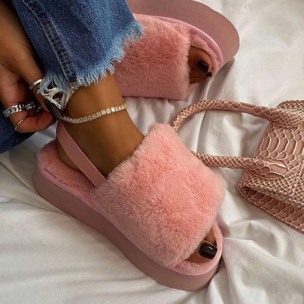 Velcro Fur Platform Slippers