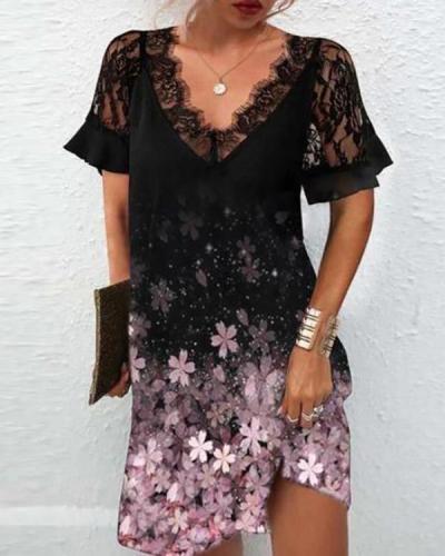 Fashion V-neck Lace Dress