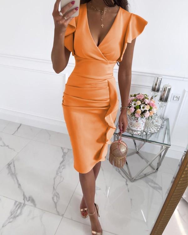 Women Solid V-neck Butterfly Sleeve Irregular Bodycon Midi Dress