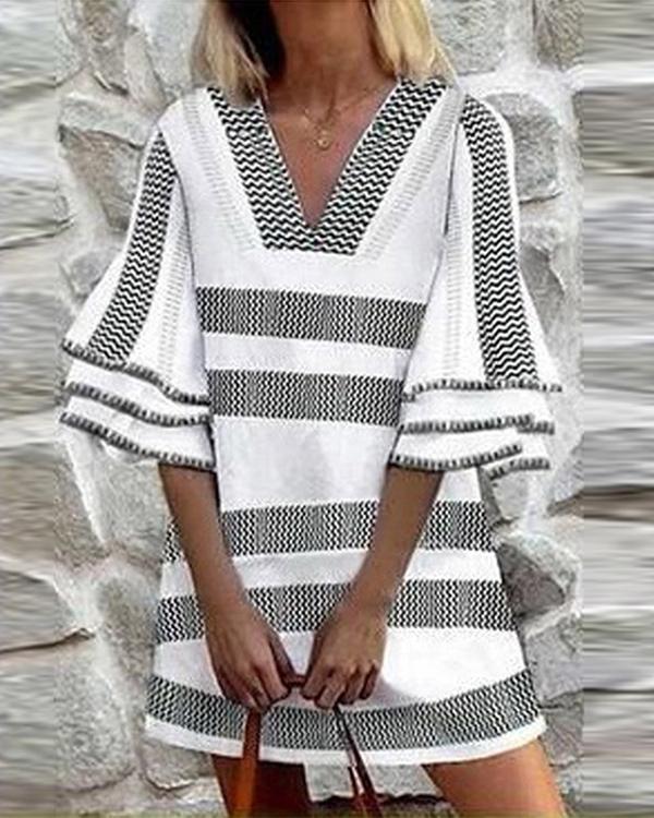 Striped Print Mid-waist Midi Skirt