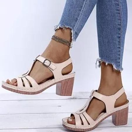 Women's Buckle Heels Nubuck Chunky Heel Sandals