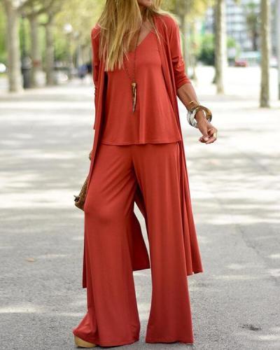 Women Autumn Casual 3-Piece Set Solid Long Cardigan Camis&Pants Suit
