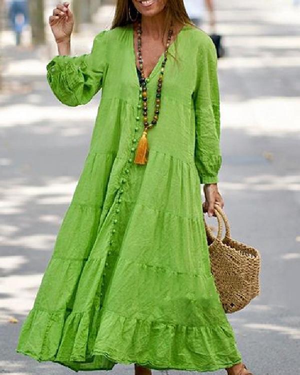 Long Sleeve V-neck Button Loose Dress