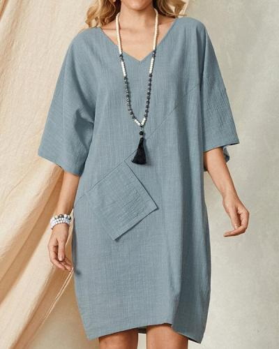 Casual Linen Pocket Dress