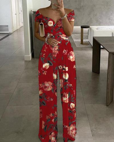 Elegant Off Shoulder Wrap Floral Wide Leg Jumpsuit