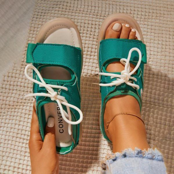 Velcro Lace-up Double Bands Sandals