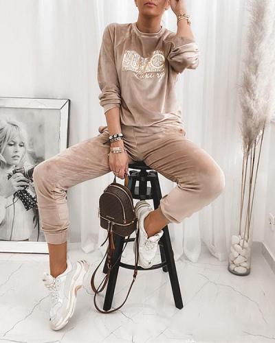 Women Chic Comfy Velvet Embroidery Top&Sweatpants Suit