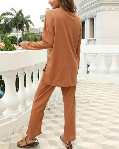 Women Autumn Casual Long-sleeved Knitting V Neck Pants Suit