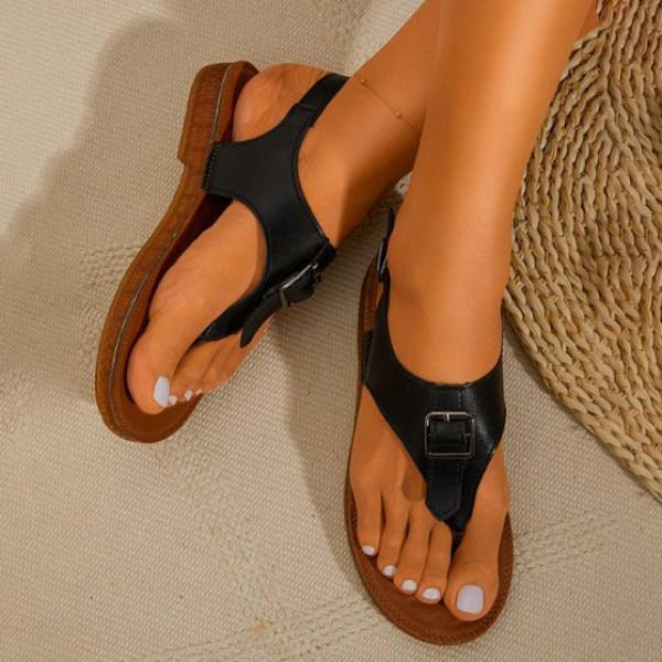 Women's Fashion Buckle Strap Roman Flat Flip-flop Sandals