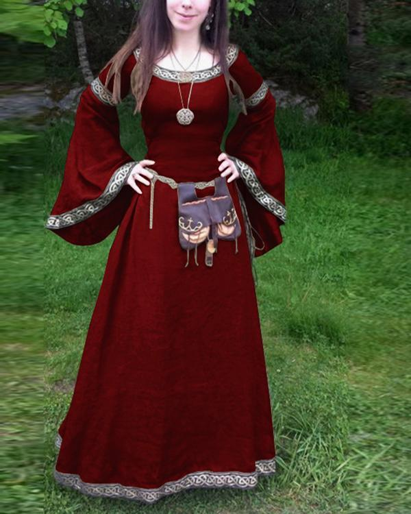 Classical Middle Ages Long Sleeve Round Neck Dress