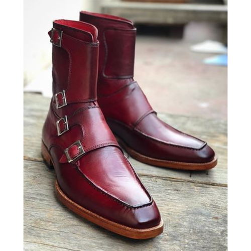Men's Fashion Trend Double-breasted Leather Boots with Buckle