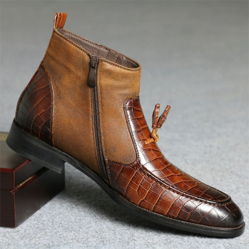 2021 Low-heel Round Toe Stitching Side Zipper Men's Short Boots
