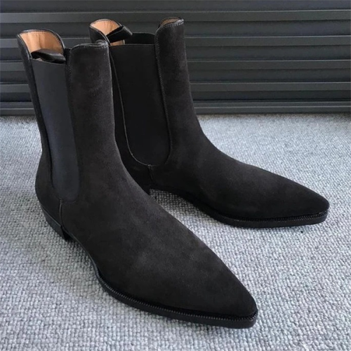 Trendy Low-heel Frosted Men's Mid-tube Chelsea Boots