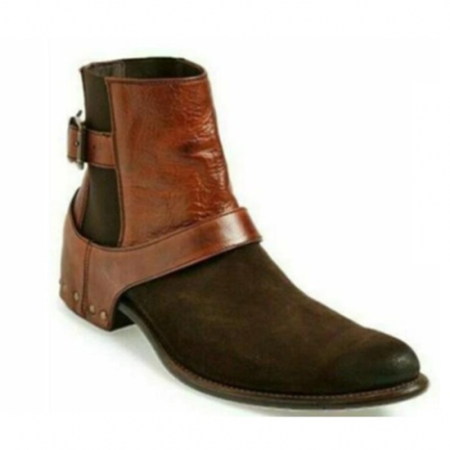 Men's Trendy Fashion Belt Buckle Color Matching Short Boots