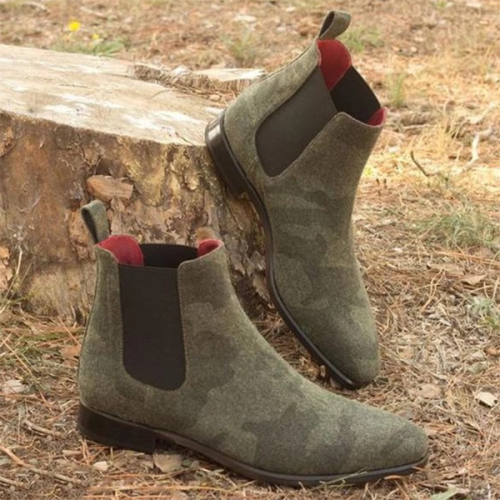 Fashion Trend Low-heel Non-slip Round Toe Solid Color Suede Chelsea Boots