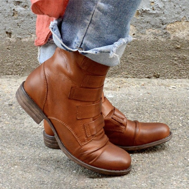 Women's Vintage Leather Daily Mid Boots (Ready for Fal and Win)