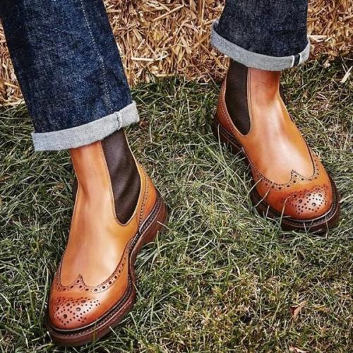 2021 Low Heel Round Toe Fashion Burnt Men's Low Top Chelsea Boots