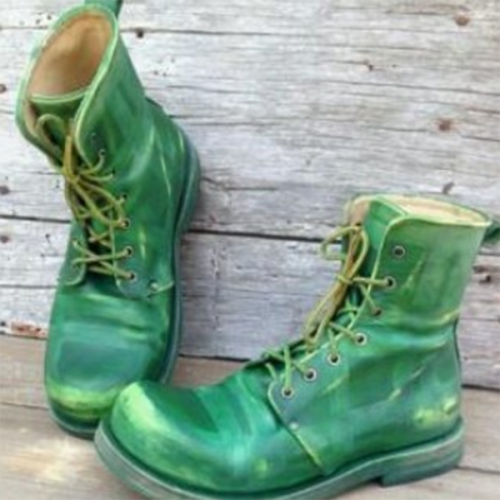 Men's Fashion Trend Green Leather Boot