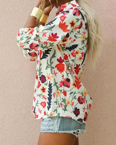 Sweet Holiday Floral Casual Button up Blouses