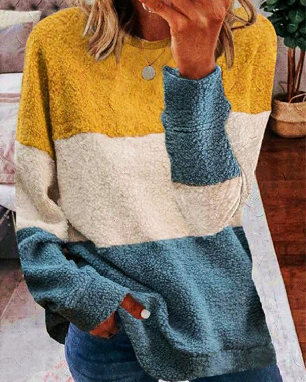 Women's Plush Stitching Contrast Color Sweater