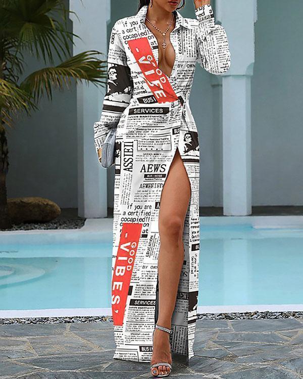 Women Long Sleeve Fashion Graphic Shirt Collar Asymmetric Slit Maxi Dress