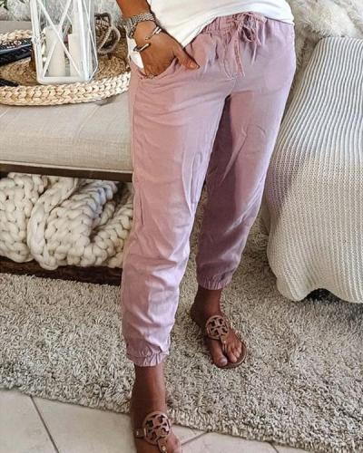 Pocket Casual Pants Solid Elastic Waist Leggings
