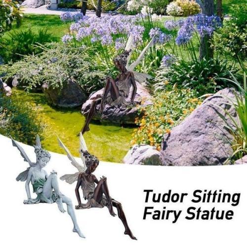 Fairy Sitting Garden Statue Ornament Decoration