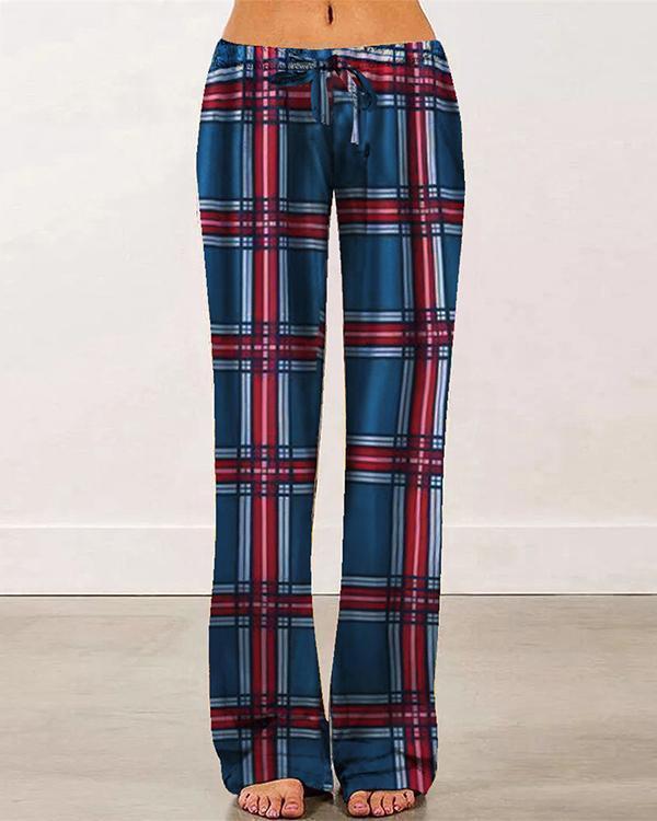 Elastic Waist Lattice Casual Pants