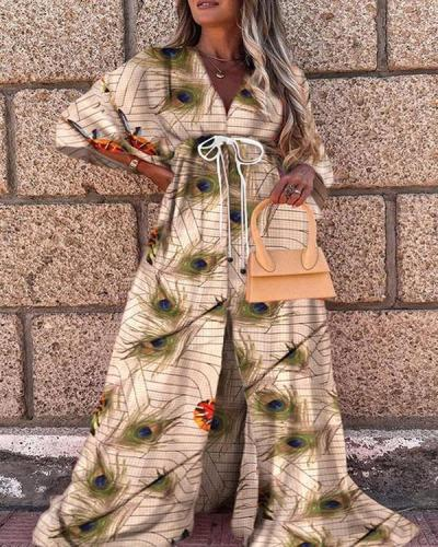 Animal Print Big Hem Floor Length Lace up Vacation Dress