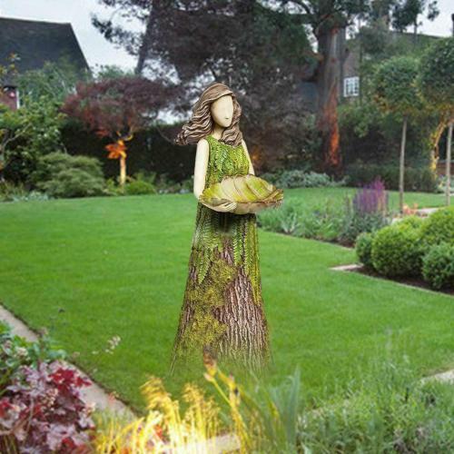 Sherwood Fern Fairy Statuary Garden Sculptures Bird Feeder Art Ornaments Resin