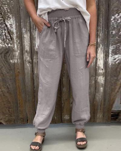 Elastic Waist Solid Lounge Joggers Casual Pants
