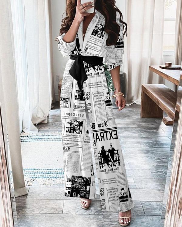 Women's Newspaper Print Jumpsuit