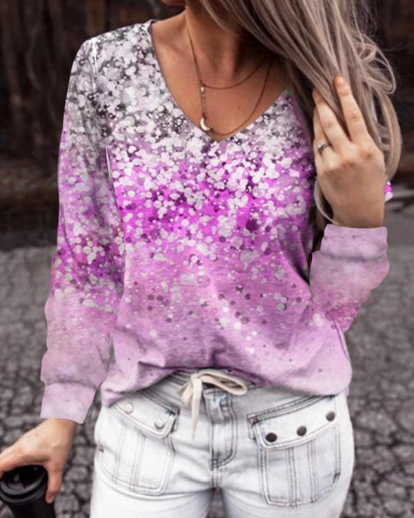 Flower Print  Long-sleeved T-shirt Tops