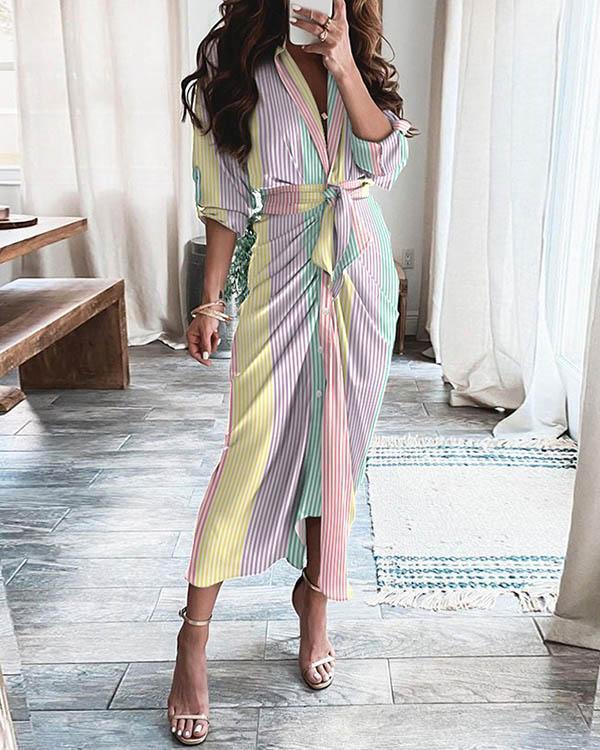 Women Rainbow Colors Stripe V Neck Pleated Lace up Waist Maxi Dress
