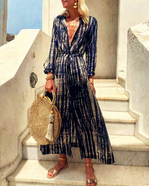 Long Sleeve Abstract Pattern Waist Dress