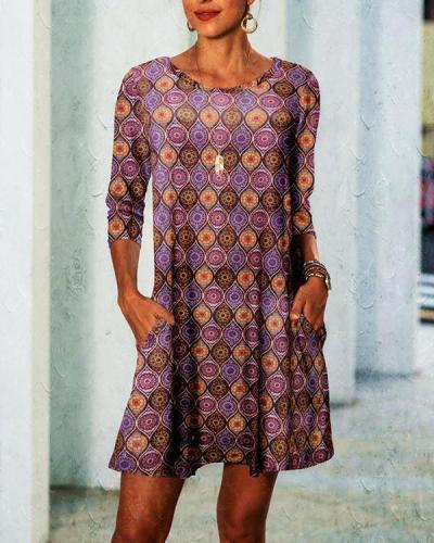 Three-quarter Sleeves Ethnic Elements Printed Big Swing Dress