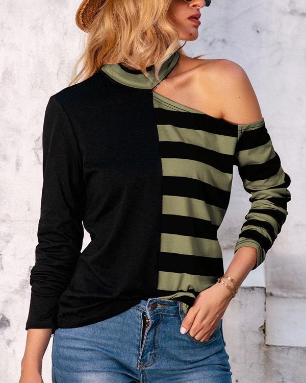 Women's Stripe Long-sleeved T-shirt Tops