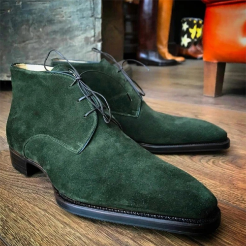 2021 New Low Heel Fashion Suede Square Toe Men's Low Trend Boots