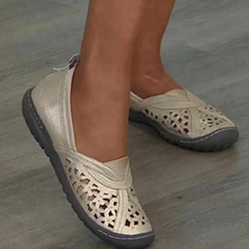Hole Embroidered Toe Cap Casual Women's Shoes