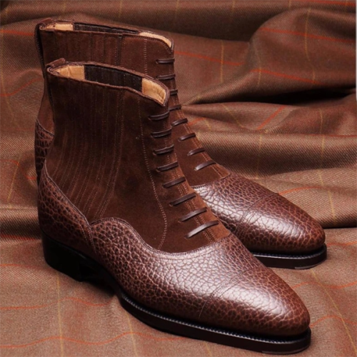 2021 New Low Heel Fashion  Square Toe Men's Low Trend Boots
