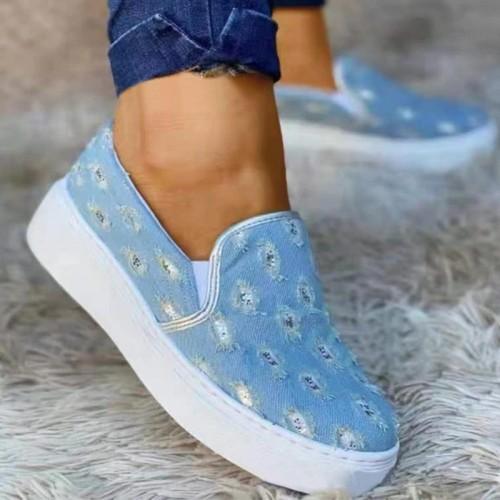 Women Casual Daily Canvas Animal Print Platform Heel Slip On Loafers